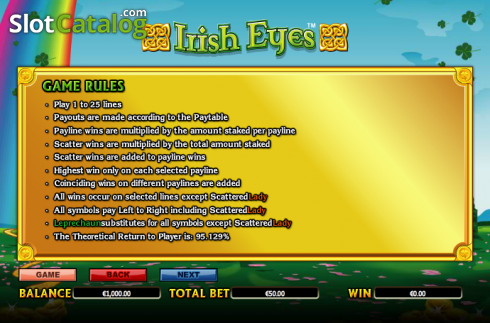 Paytable 6. Irish Eyes (Video Slot a partire dal NextGen)