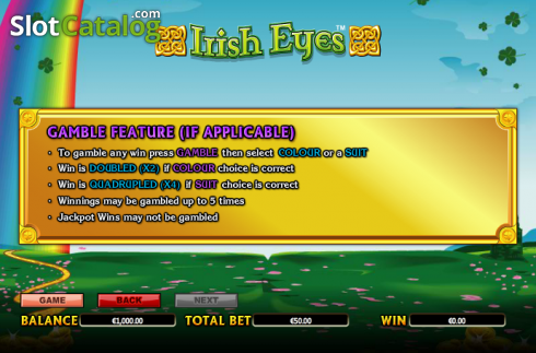 Paytable 8. Irish Eyes (Video Slot a partire dal NextGen)