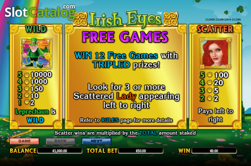 Paytable 1. Irish Eyes (Video Slot a partire dal NextGen)