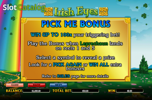 Paytable 2. Irish Eyes (Video Slot a partire dal NextGen)