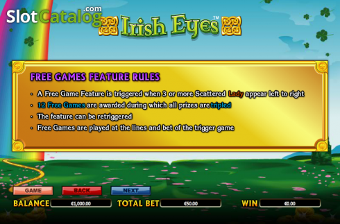 Paytable 4. Irish Eyes (Video Slot a partire dal NextGen)