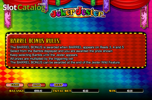 Paytable 4. Joker Jester (Video Slot from NextGen)