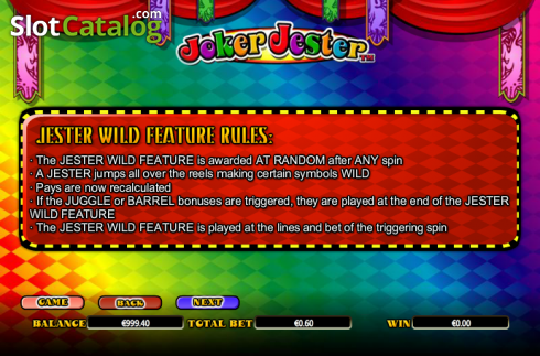 Paytable 5. Joker Jester (Video Slot from NextGen)