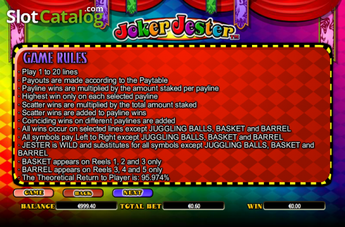 Paytable 6. Joker Jester (Video Slot from NextGen)