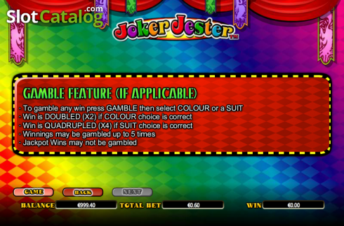 Paytable 8. Joker Jester (Video Slot from NextGen)