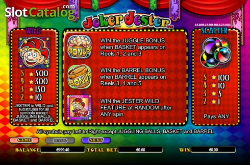 Paytable 1. Joker Jester (Video Slot from NextGen)