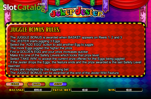 Paytable 3. Joker Jester (Video Slot from NextGen)