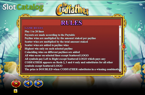 Paytable 3. The Cod Father (Video Slot from NextGen)