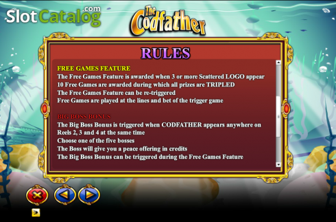 Paytable 4. The Cod Father (Video Slot from NextGen)