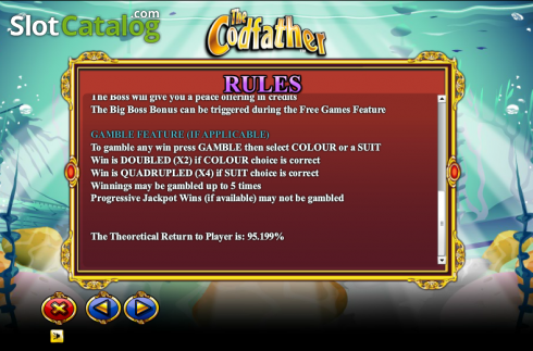 Paytable 5. The Cod Father (Video Slot from NextGen)
