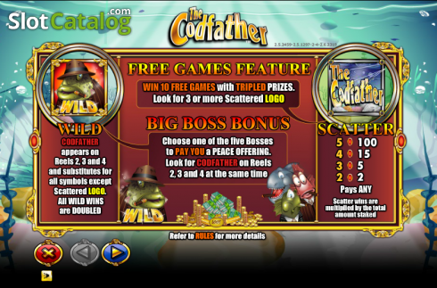 Paytable 1. The Cod Father (Video Slot from NextGen)