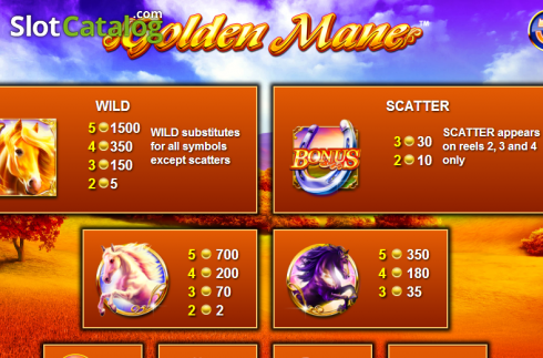 Paytable 1. Golden Mane (Video Slots from NextGen)
