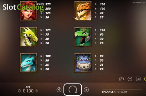 Paytable 1. Dragon Tribe (Video Slots from Nolimit City)