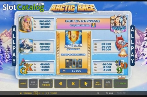 Paytable. Arctic Race (Video Slot from Novomatic)