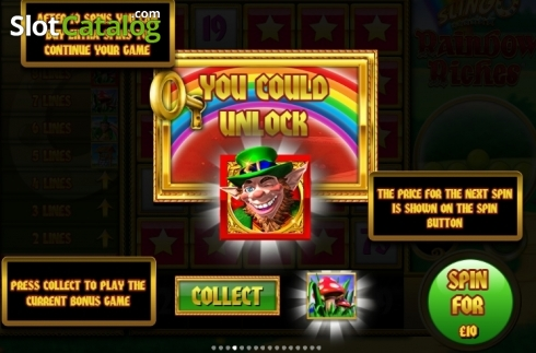 Paytable 1. Slingo Rainbow Riches (Others Types from Slingo Originals)