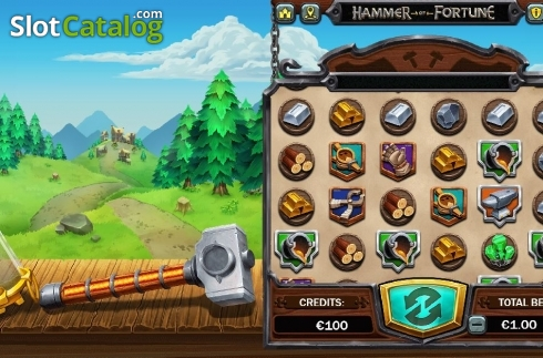 Reel Screen 1. Hammer of Fortune (Video Slot from Green Jade Games)