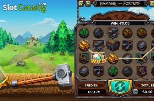 Win Screen 1. Hammer of Fortune (Video Slot from Green Jade Games)