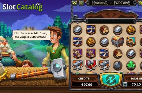 Reel Screen 2. Hammer of Fortune (Video Slot from Green Jade Games)