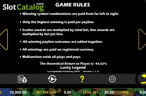 Game Rules. Lucky Legend (Video Slot from Aspect Gaming)