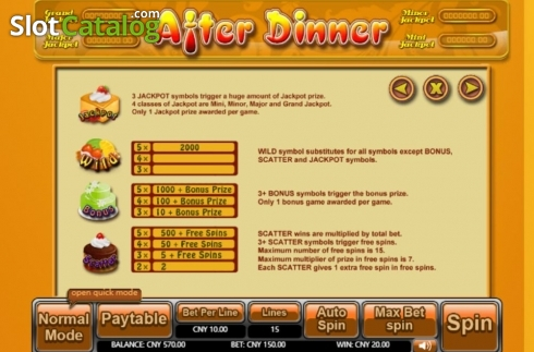 Features. After Dinner (Video Slot from Aiwin Games)