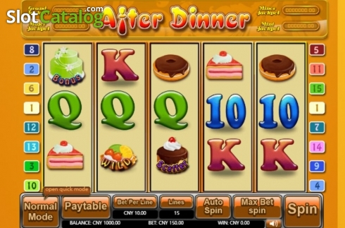 Reel Screen. After Dinner (Video Slot from Aiwin Games)