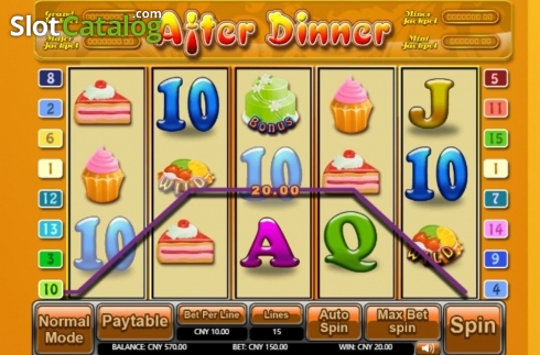 Win Screen. After Dinner (Video Slot from Aiwin Games)