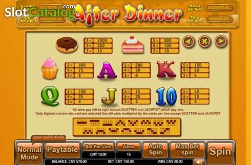 Paytable. After Dinner (Video Slot from Aiwin Games)