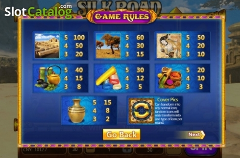 Paytable. Silk Road (Aiwin Gaming) (Video Slots from Aiwin Games)