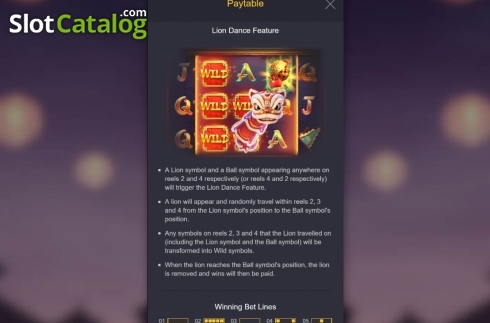 Skjerm10. Prosperity Lion (Video Slot fra PG Soft)