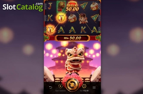Skjerm6. Prosperity Lion (Video Slot fra PG Soft)