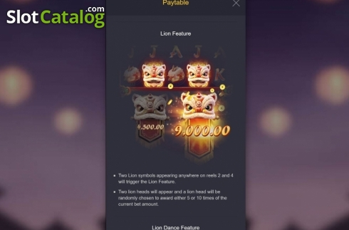 Skjerm9. Prosperity Lion (Video Slot fra PG Soft)