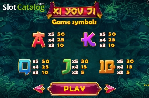 Paytable 9. Xi You Ji (Video Slot from Pariplay)