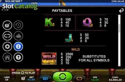 Paytable 2. Rich Geyser (Video Slot from Plank Gaming)