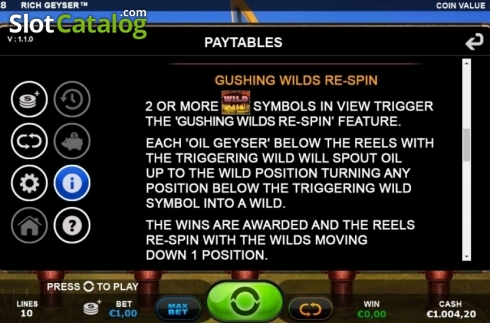 Re-Spin Feature. Rich Geyser (Video Slot from Plank Gaming)