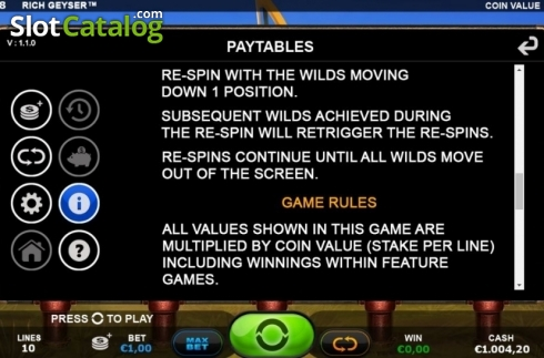Re-Spins Feature 2. Rich Geyser (Video Slot from Plank Gaming)