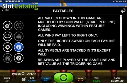 Rules 1. Rich Geyser (Video Slot from Plank Gaming)