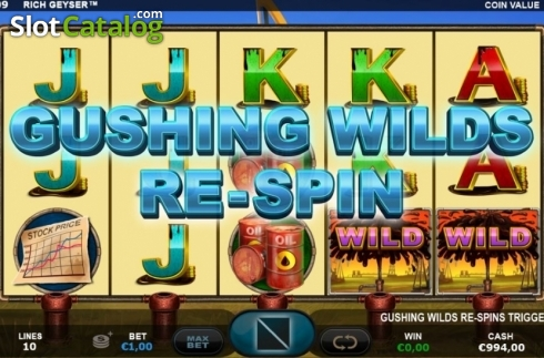Re-Spin Triggered. Rich Geyser (Video Slot from Plank Gaming)