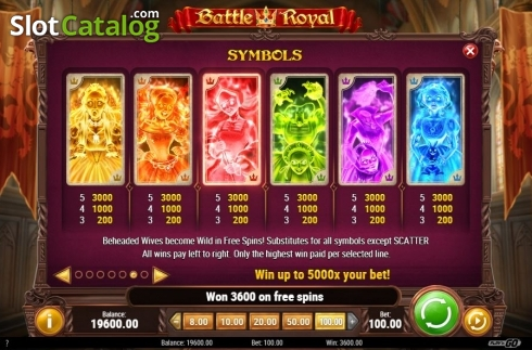 Paytable Free Spins. Battle Royal (Play'n Go) (Video Slot from Play'n Go)