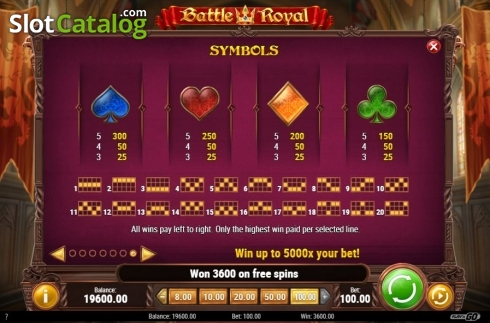 Paytable and Lines. Battle Royal (Play'n Go) (Video Slot from Play'n Go)