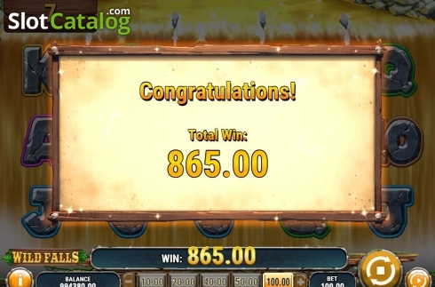 Win Screen. Wild Falls (Video Slot from Play'n Go)