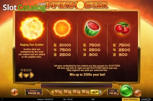 skærm10. Inferno Star (Video Slot fra Play'n Go)
