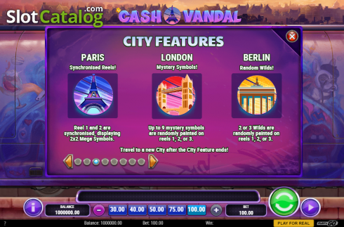 City Features. Cash Vandal (Video Slot from Play'n Go)