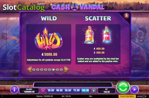 Symbols. Cash Vandal (Video Slot from Play'n Go)