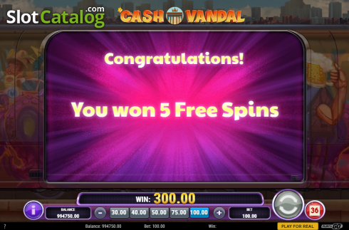 Free Spins Triggered. Cash Vandal (Video Slot from Play'n Go)
