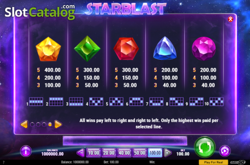 Paytable 2. Starblast (Video Slot from Play'n Go)
