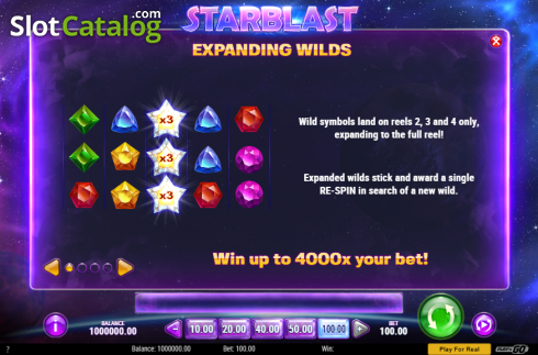 Expanding Wilds. Starblast (Video Slot from Play'n Go)