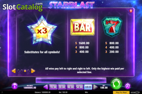 Paytable 1. Starblast (Video Slot from Play'n Go)