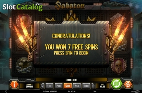 Free Spins Awarded. Sabaton (Video Slot from Play'n Go)