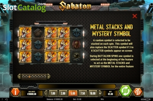 Stack and Mystery Symbols. Sabaton (Video Slot from Play'n Go)