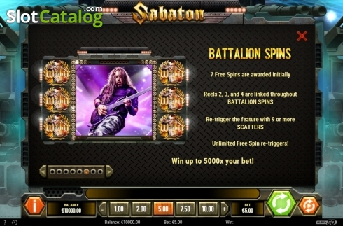 Free Spins. Sabaton (Video Slot from Play'n Go)